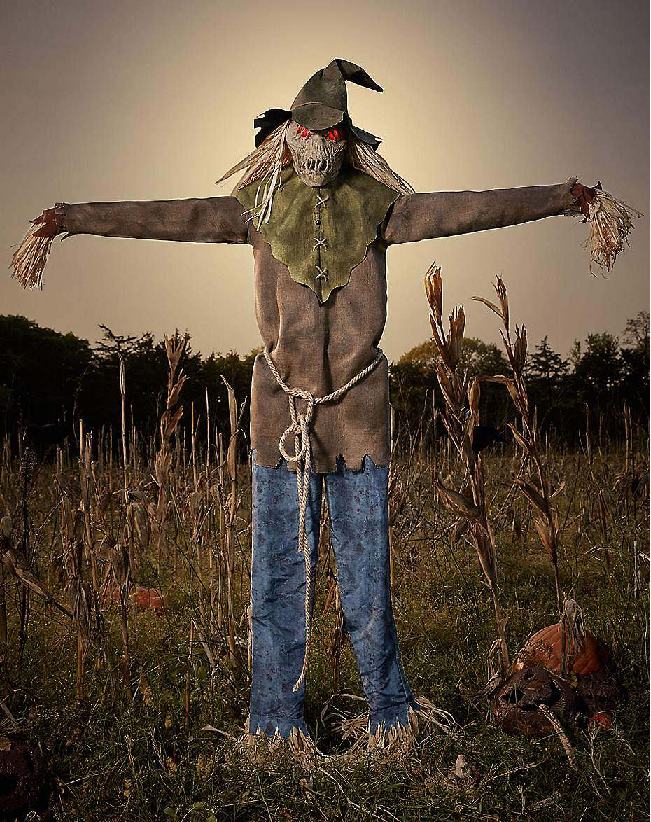 this six foot scarecrow animatronic from spirit halloween comes with light up eyes that stare straight at you and arms that lunge forward in an attempt to